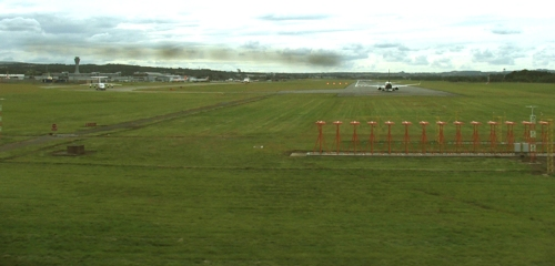 Edinburgh Airport Runway from the Train